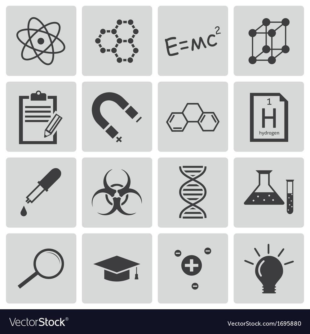 Black science icons set vector   Price: 1 Credit (USD $1)