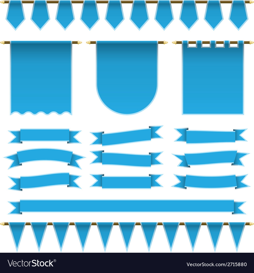 Blue ribbons and banners vector | Price: 1 Credit (USD $1)