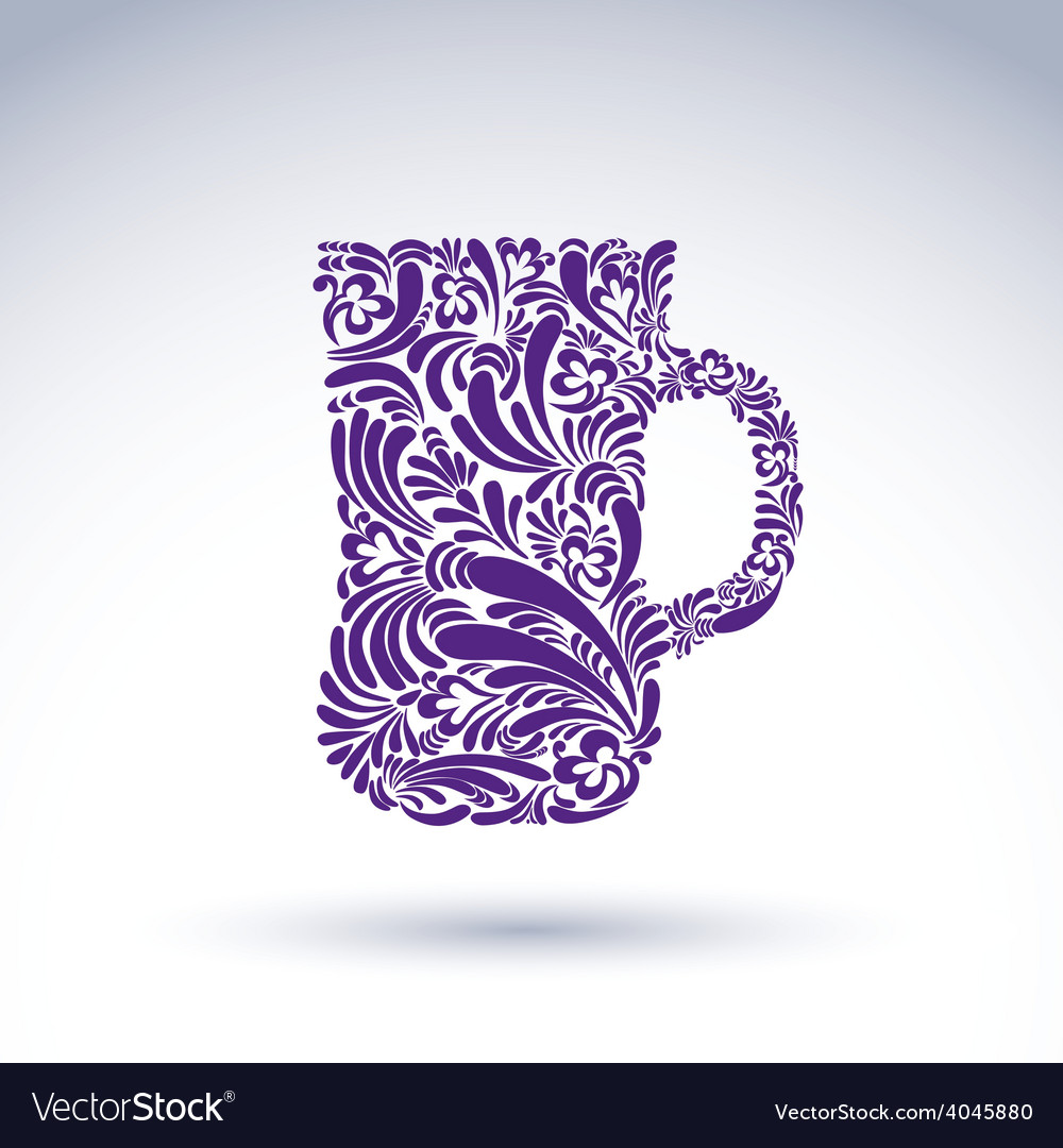 Creative beer mug decorated with floral pattern vector | Price: 1 Credit (USD $1)