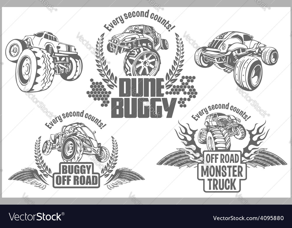 Dune buggy and monster truck  badge vector