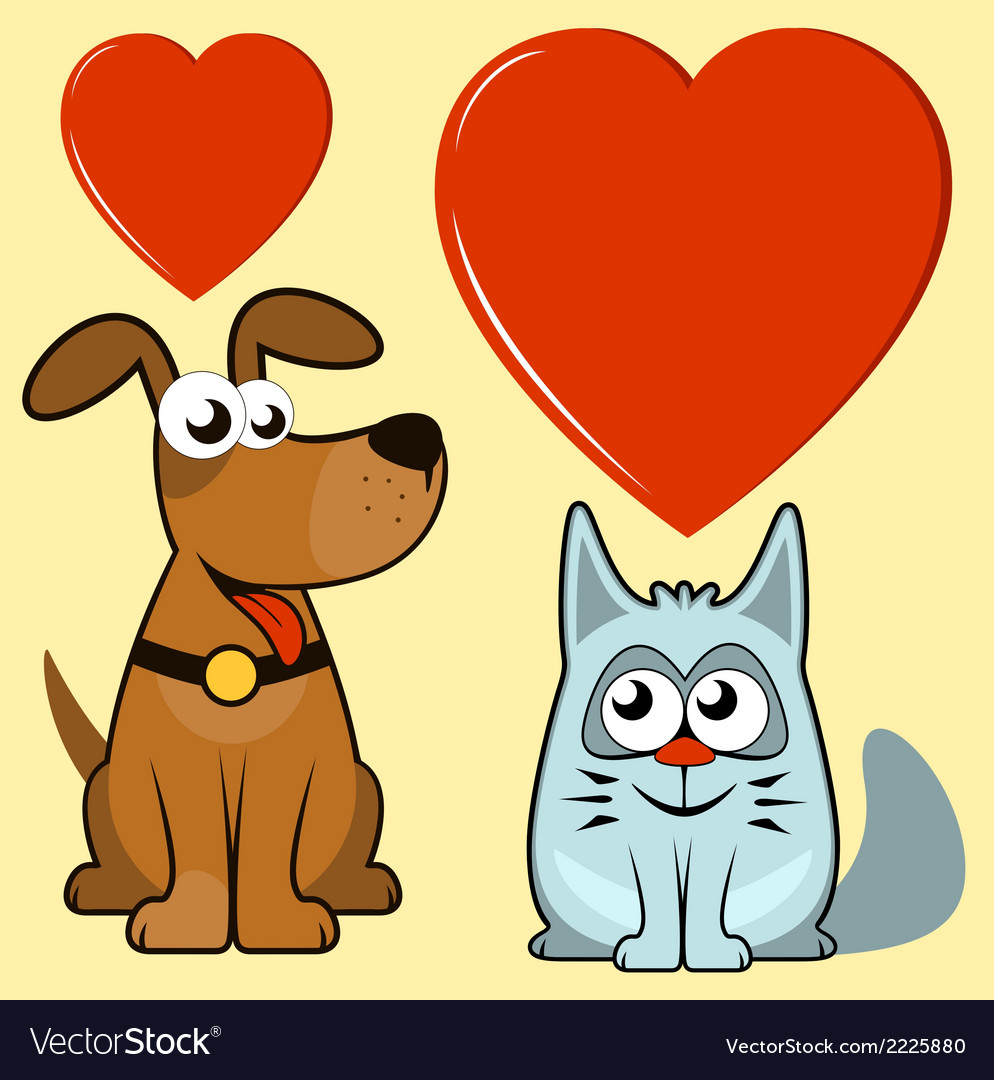 Isolated dog and cat lovers vector | Price: 1 Credit (USD $1)