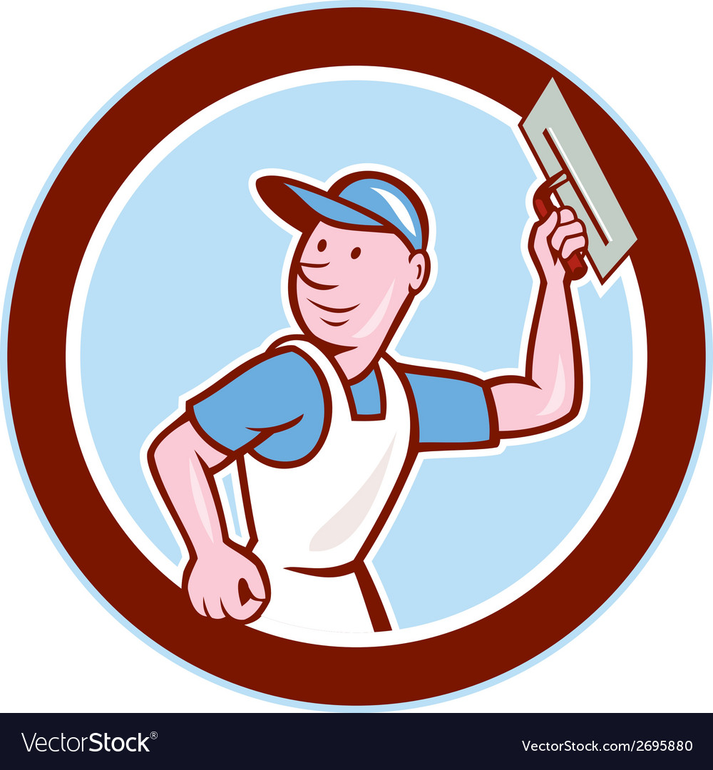 Plasterer masonry worker circle cartoon vector | Price: 1 Credit (USD $1)