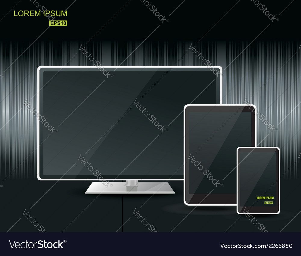 Realistic tablet computer monitor and mobile phone vector | Price: 1 Credit (USD $1)