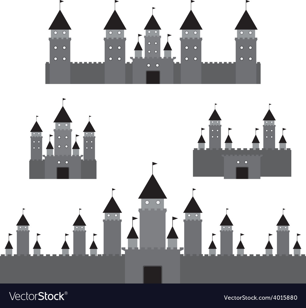Set black castle on white background vector | Price: 1 Credit (USD $1)