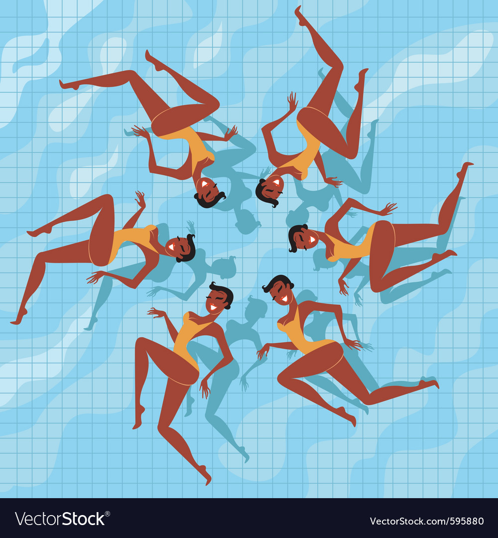 Synchronized swimmers vector | Price: 1 Credit (USD $1)