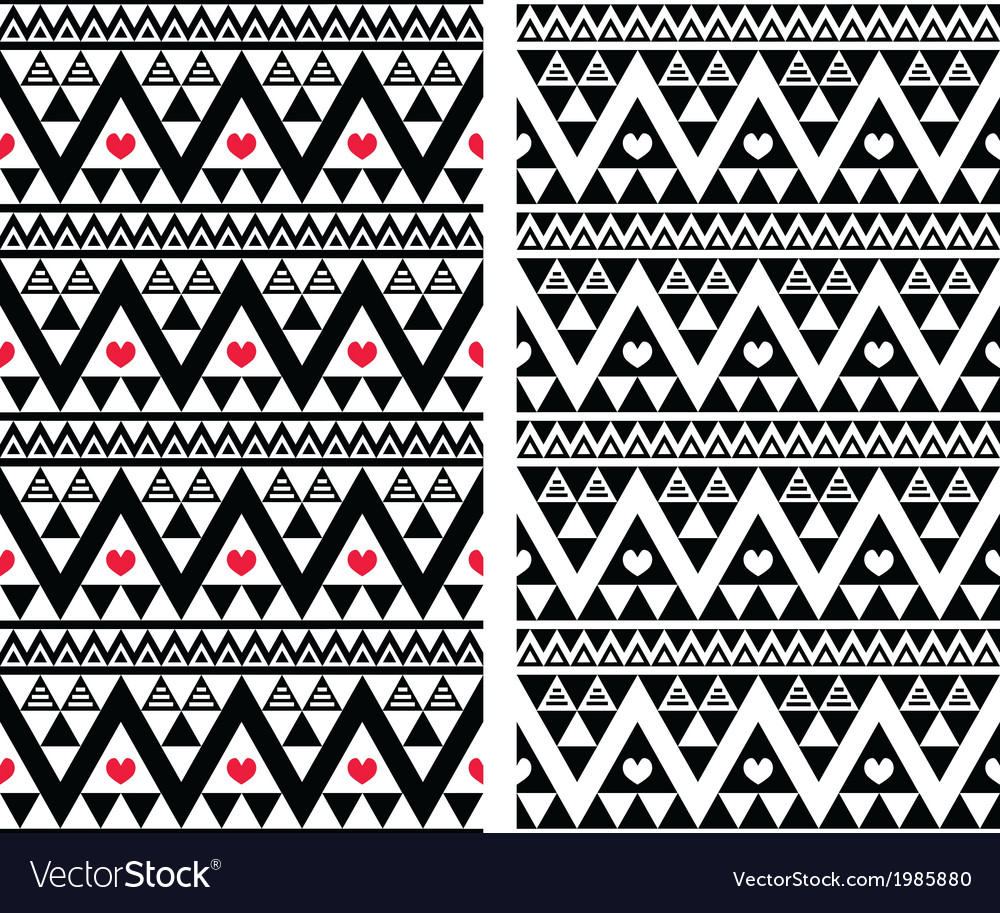 Tribal aztec colorful seamless pattern with heart vector | Price: 1 Credit (USD $1)