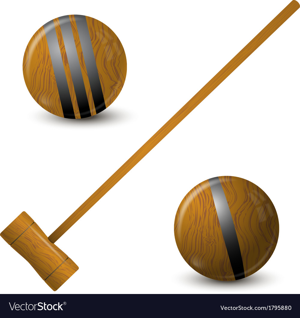 Wooden hammer and croquet balls vector | Price: 1 Credit (USD $1)