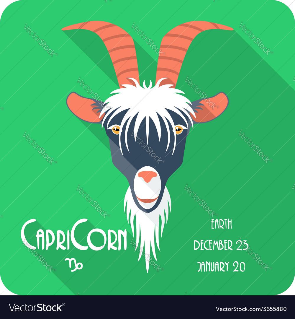 Zodiac sign capricorn icon flat design vector | Price: 1 Credit (USD $1)