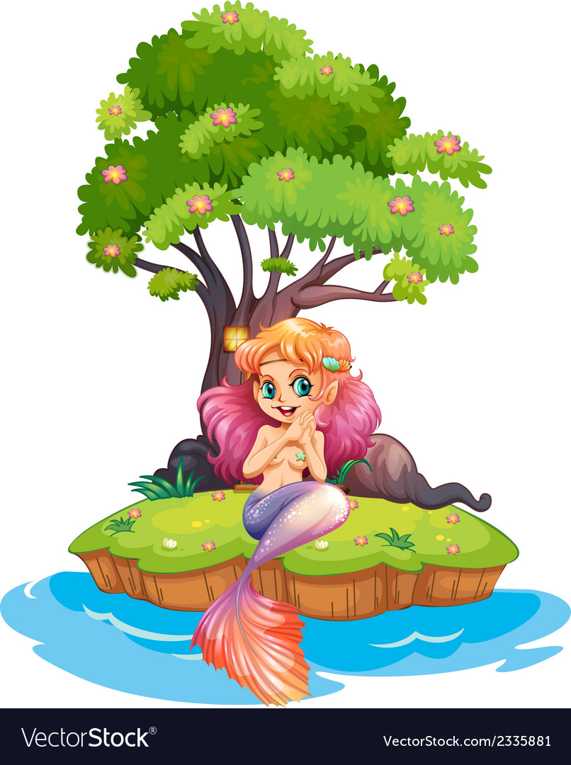 An island with a smiling mermaid vector | Price: 3 Credit (USD $3)