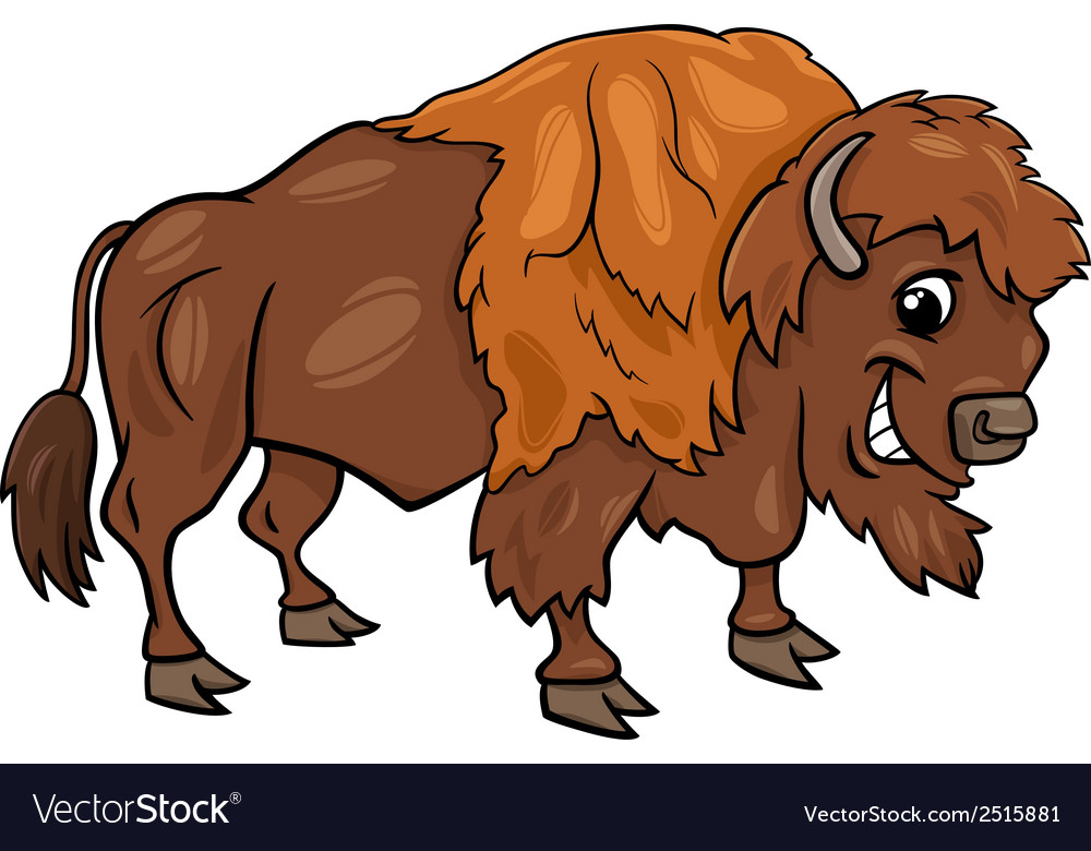 Bison american buffalo cartoon vector | Price: 1 Credit (USD $1)