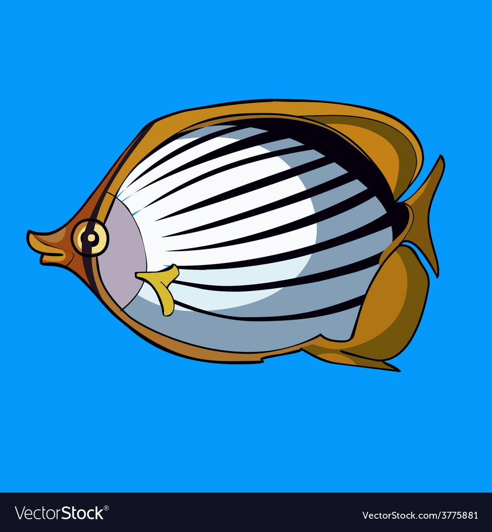 Cartoon striped fish with yellow fins vector | Price: 3 Credit (USD $3)