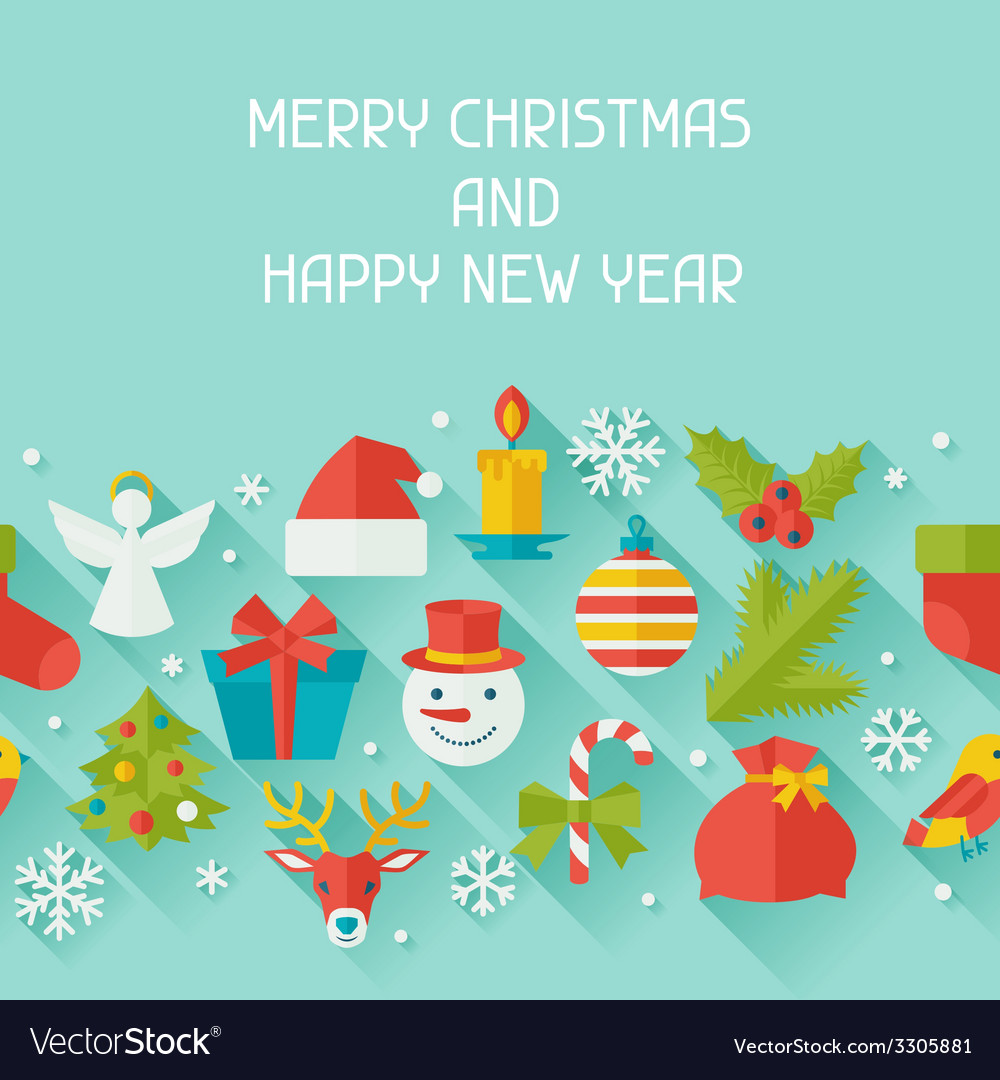 Merry christmas and happy new year seamless vector | Price: 1 Credit (USD $1)