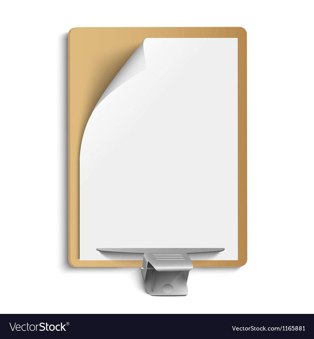 Metallic clamp on blank sheet of paper vector | Price: 1 Credit (USD $1)
