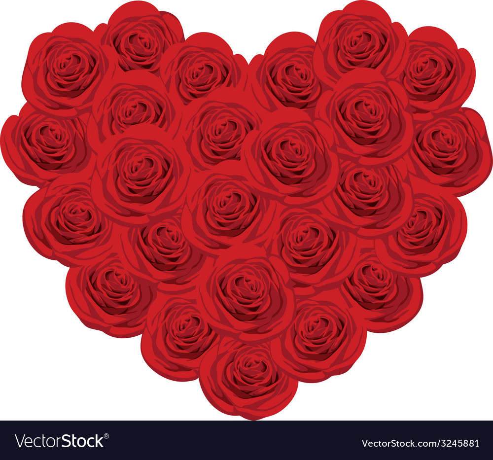 Red roses in shape of heart vector | Price: 1 Credit (USD $1)