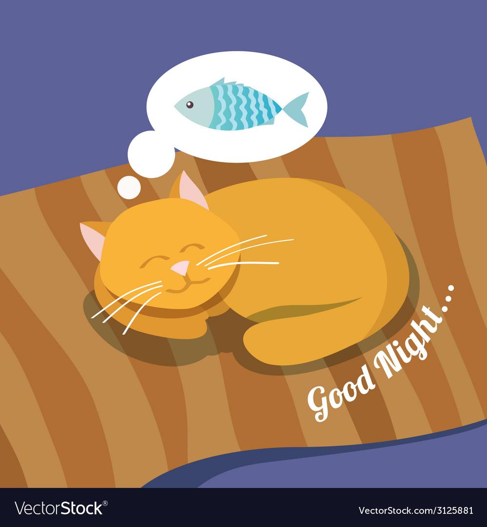Sleeping cat background vector | Price: 1 Credit (USD $1)