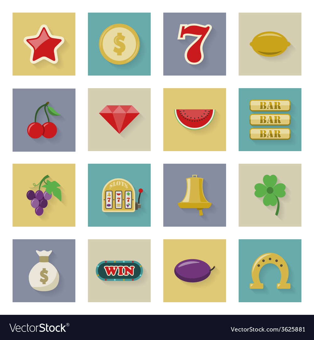 Slot machine and gambling flat icon set with vector | Price: 1 Credit (USD $1)