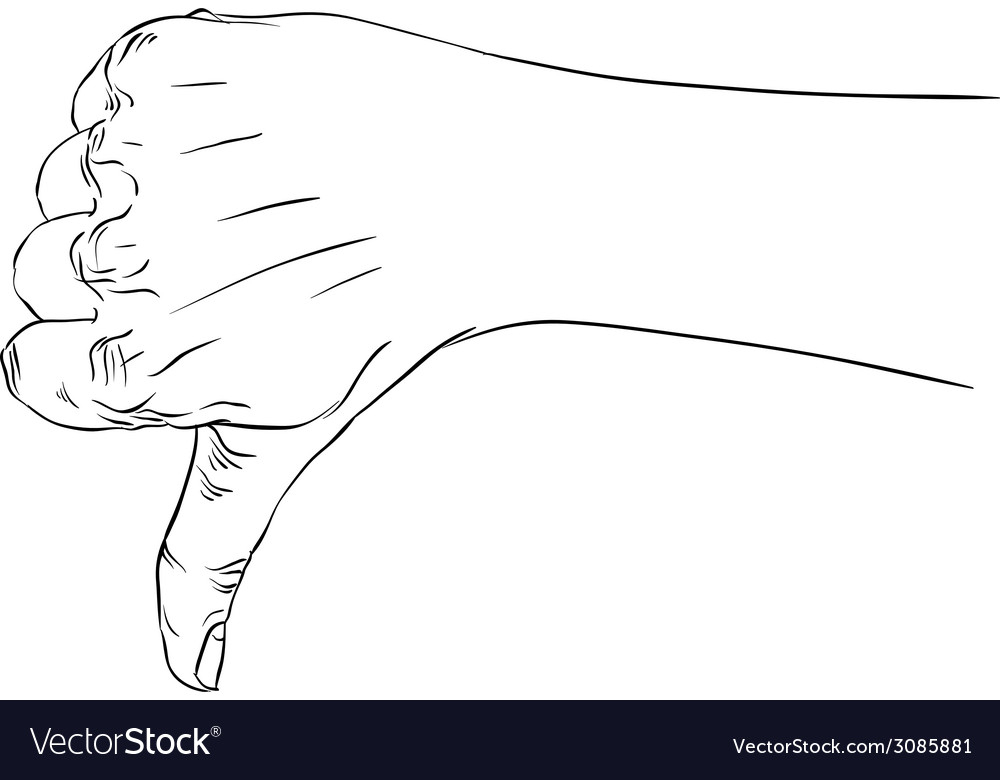 Thumb down hand sign detailed black and white vector | Price: 1 Credit (USD $1)