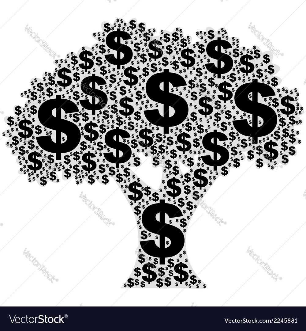 Tree made of dollar signs vector | Price: 1 Credit (USD $1)