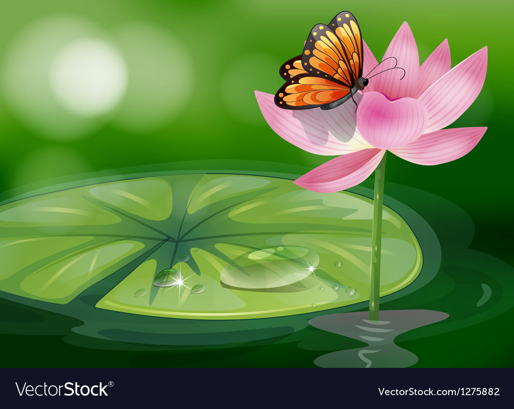 A butterfly at the top of a pink flower vector | Price: 1 Credit (USD $1)