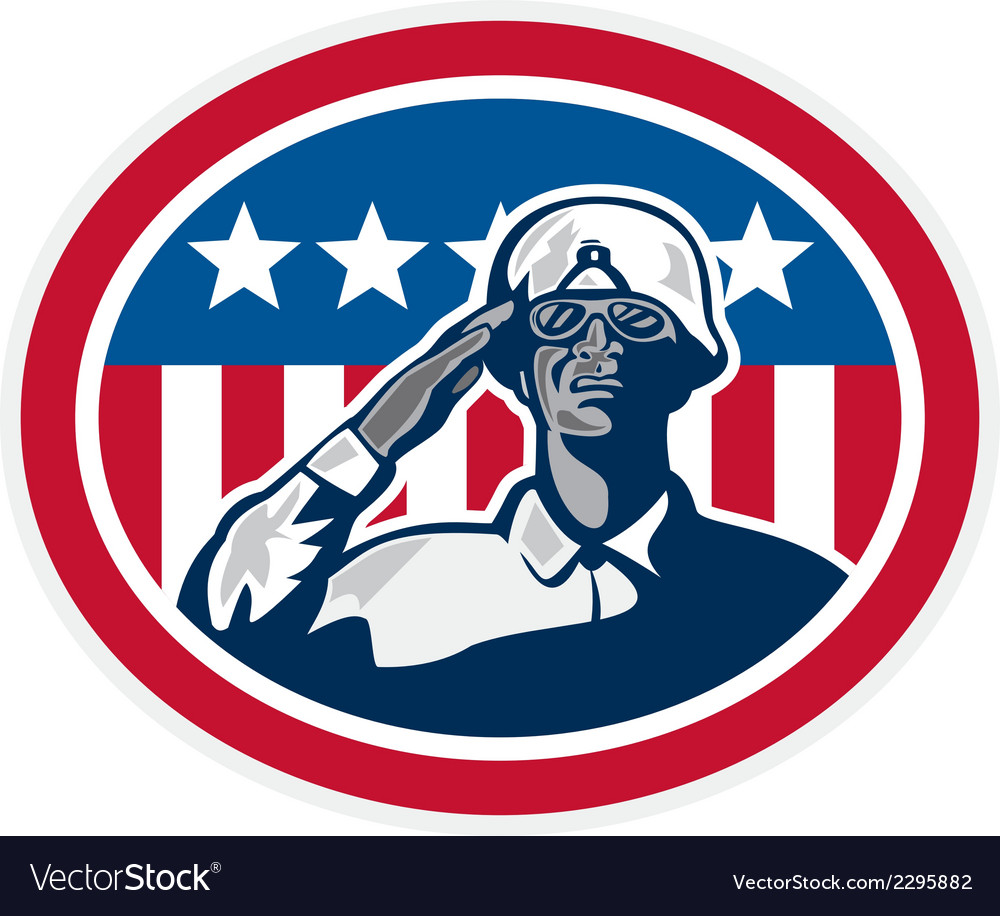 African american soldier salute flag retro vector | Price: 1 Credit (USD $1)