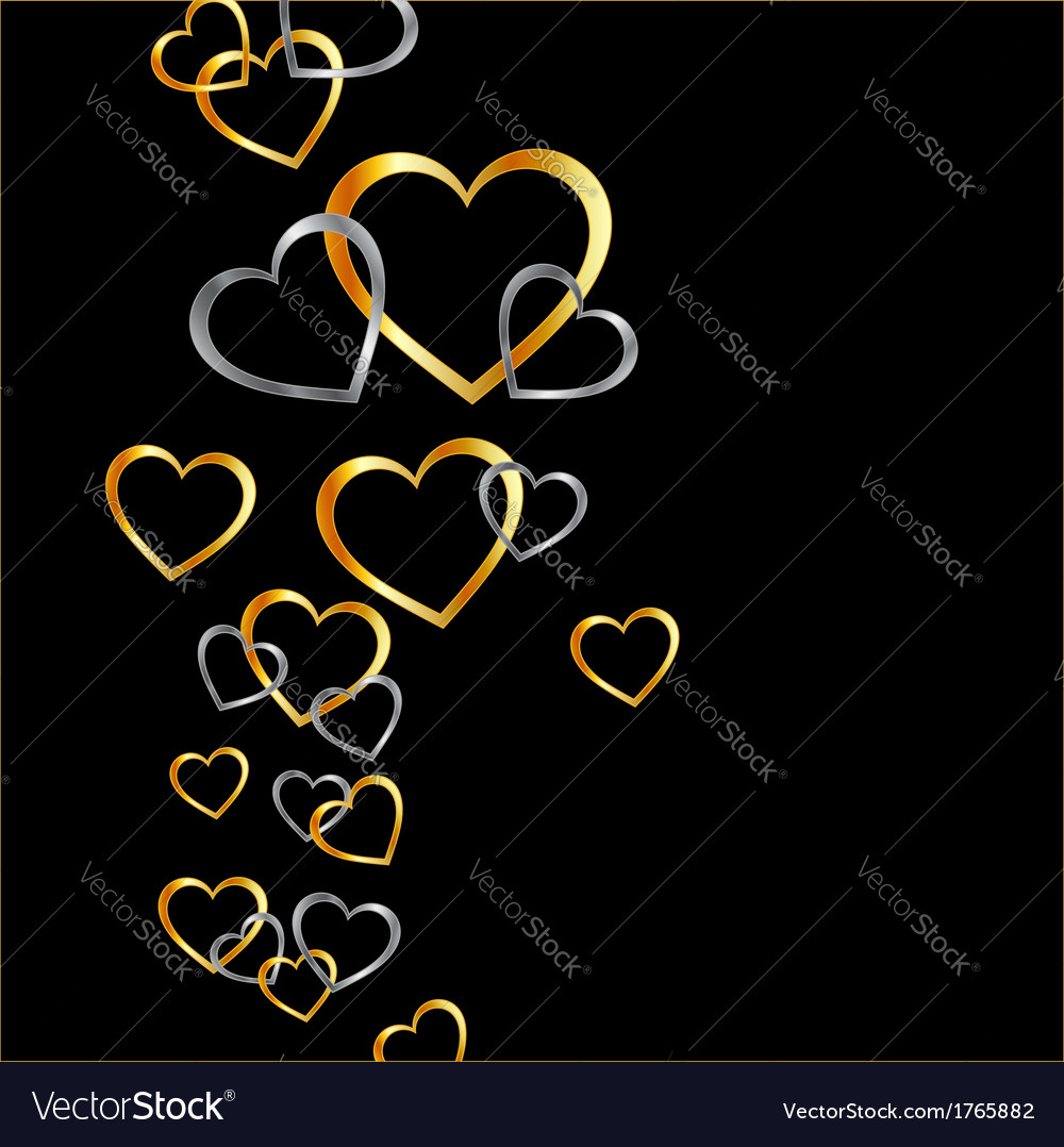 Background with gold and silver hearts vector | Price: 1 Credit (USD $1)