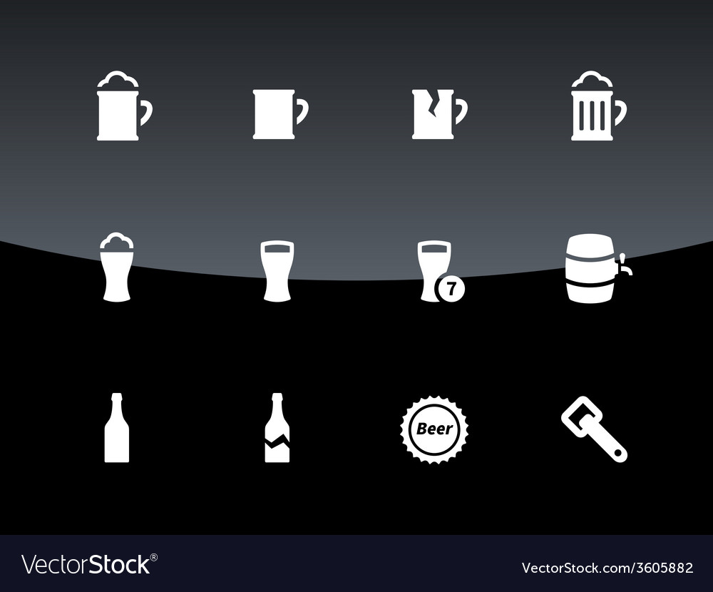 Bottle and glass of beer icons on black background vector | Price: 1 Credit (USD $1)