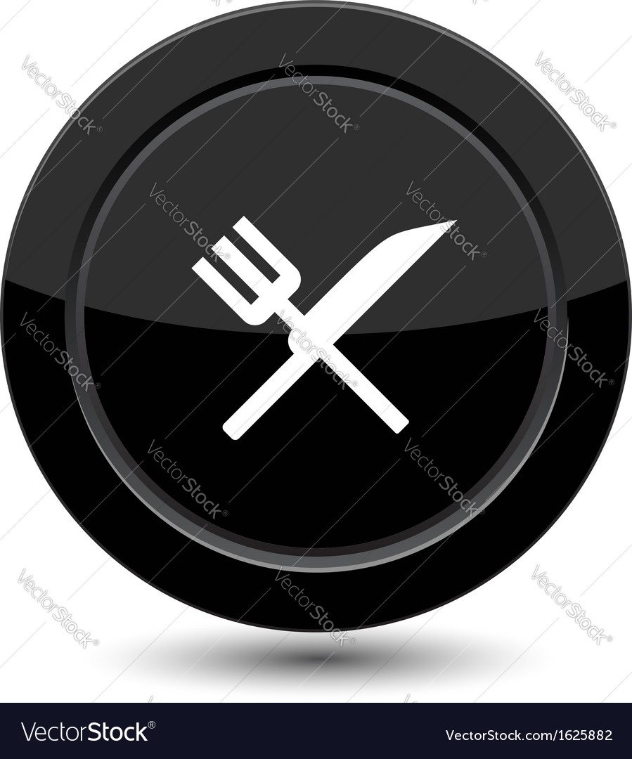 Button with fork and knife vector | Price: 1 Credit (USD $1)