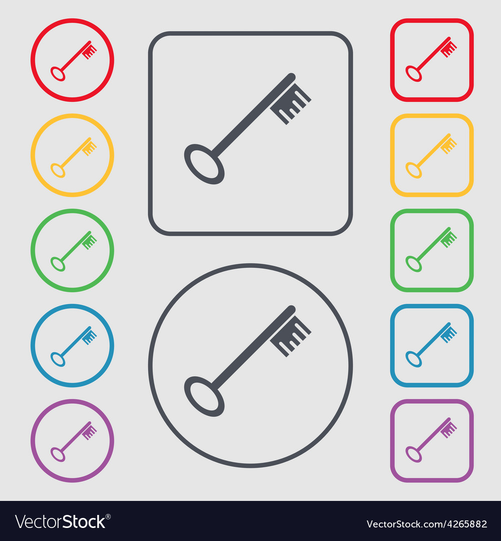 Key icon sign symbol on the round and square vector | Price: 1 Credit (USD $1)