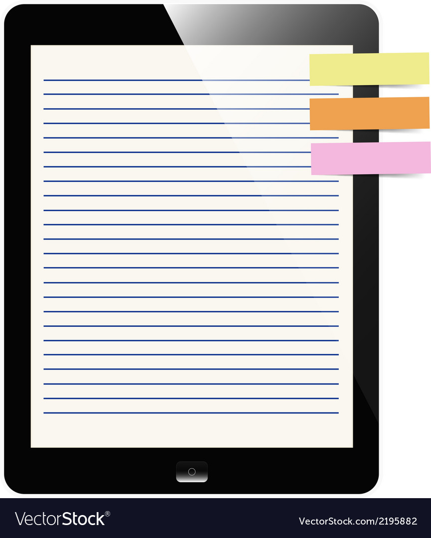 Liner paper on tablet screen with notepad vector | Price: 1 Credit (USD $1)