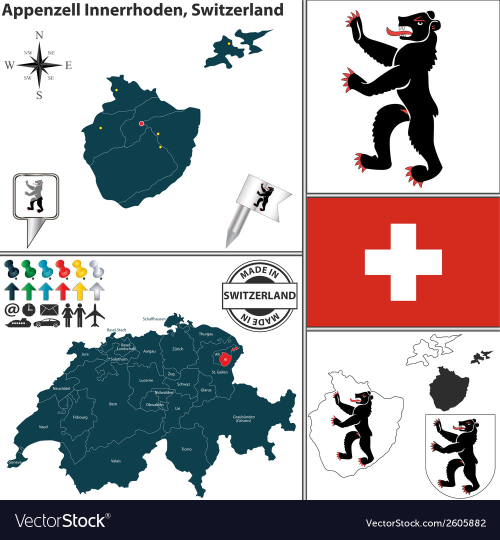 Map of appenzell innerrhoden vector   Price: 1 Credit (USD $1)