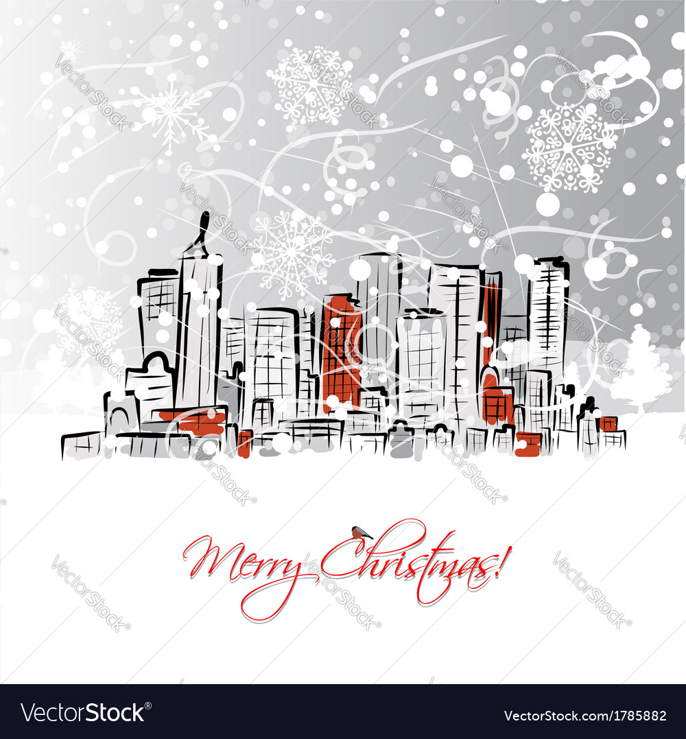 Merry christmas postcard with cityscape background vector | Price: 1 Credit (USD $1)