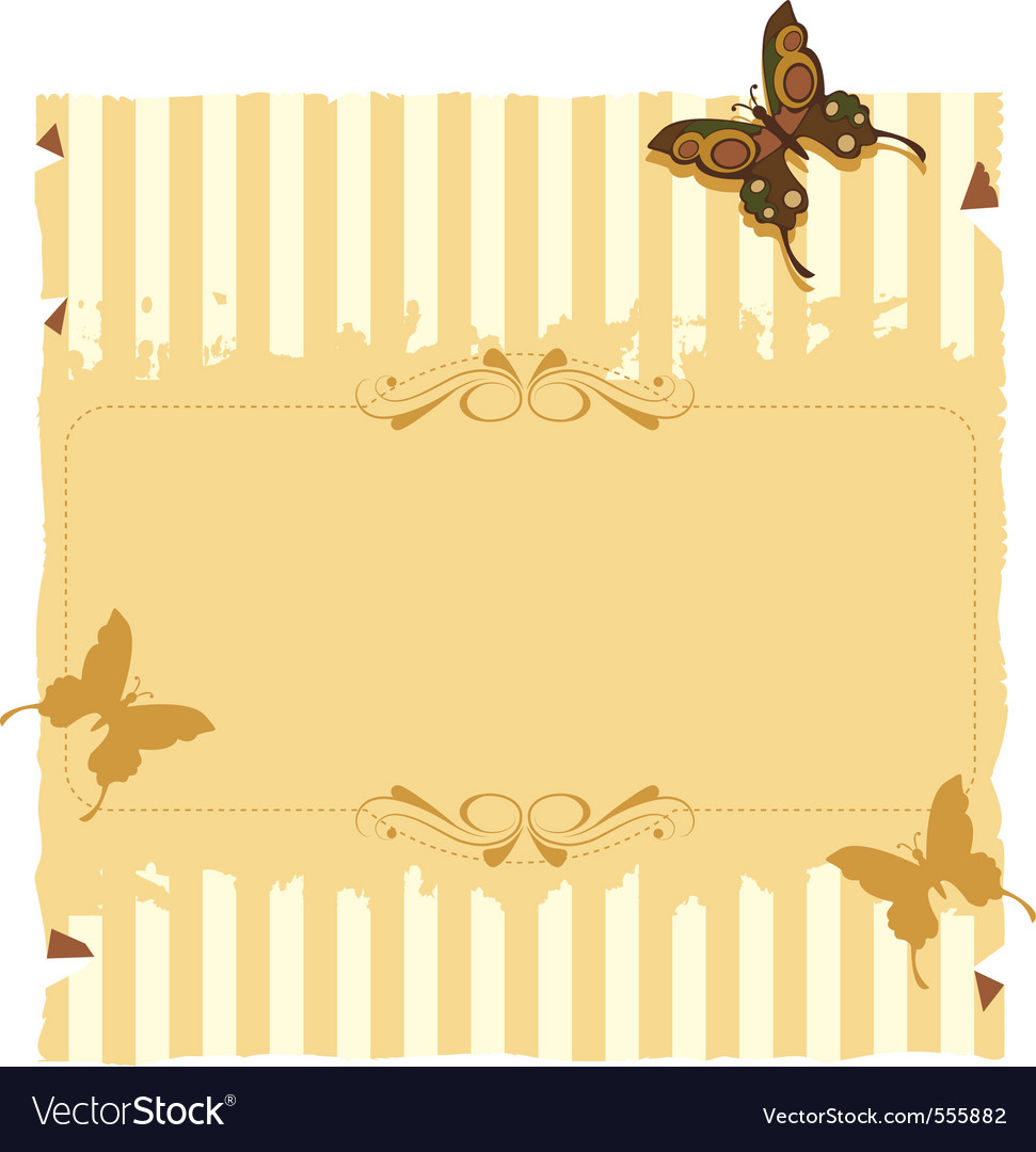 Paper invitation with stripes and butterflies vector | Price: 1 Credit (USD $1)