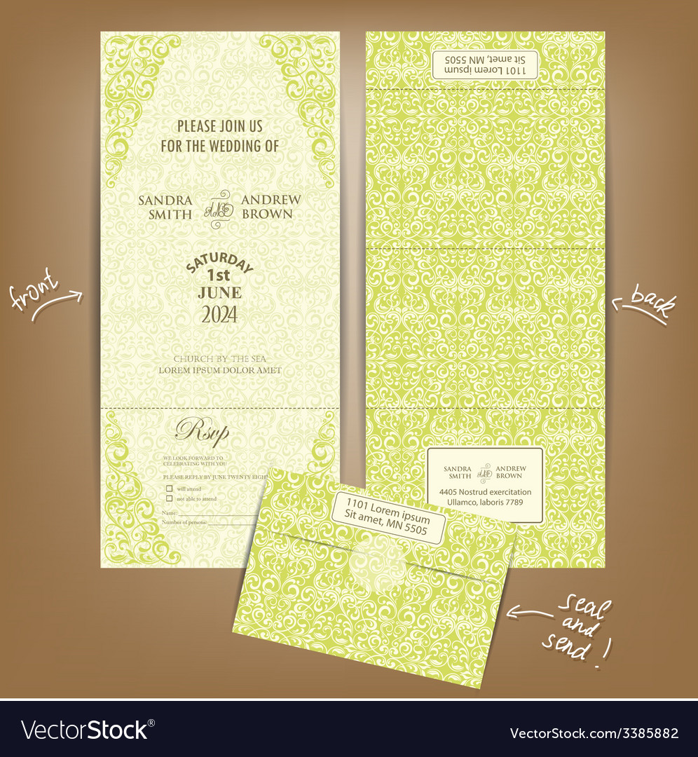 Seal and send wedding invitation vector | Price: 1 Credit (USD $1)