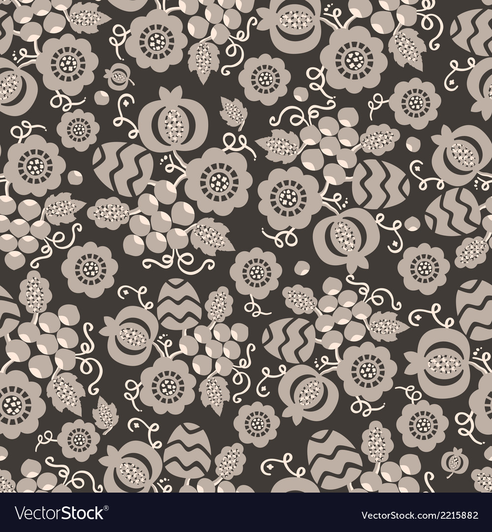 Seamless pattern with decorative flowers vector | Price: 1 Credit (USD $1)