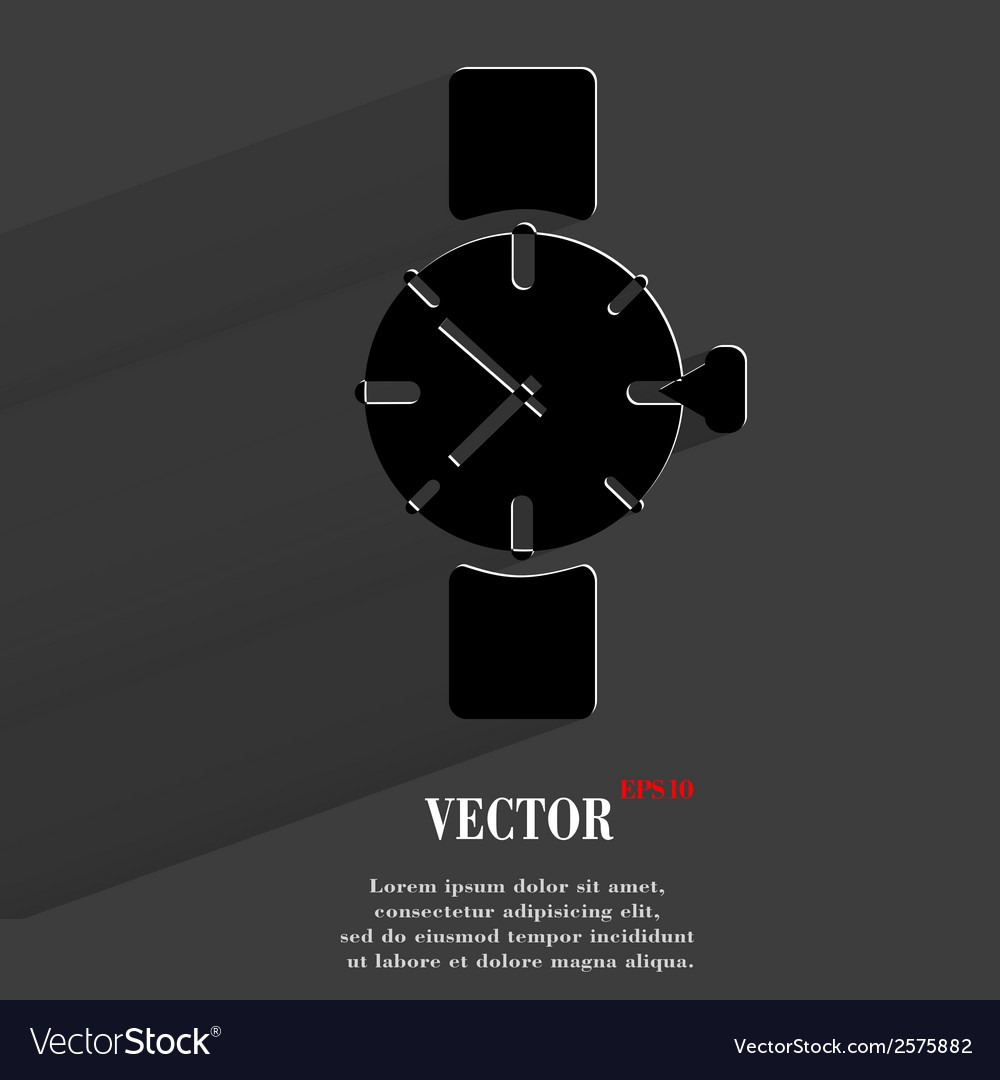 Watchclock flat modern web button with long shadow vector | Price: 1 Credit (USD $1)