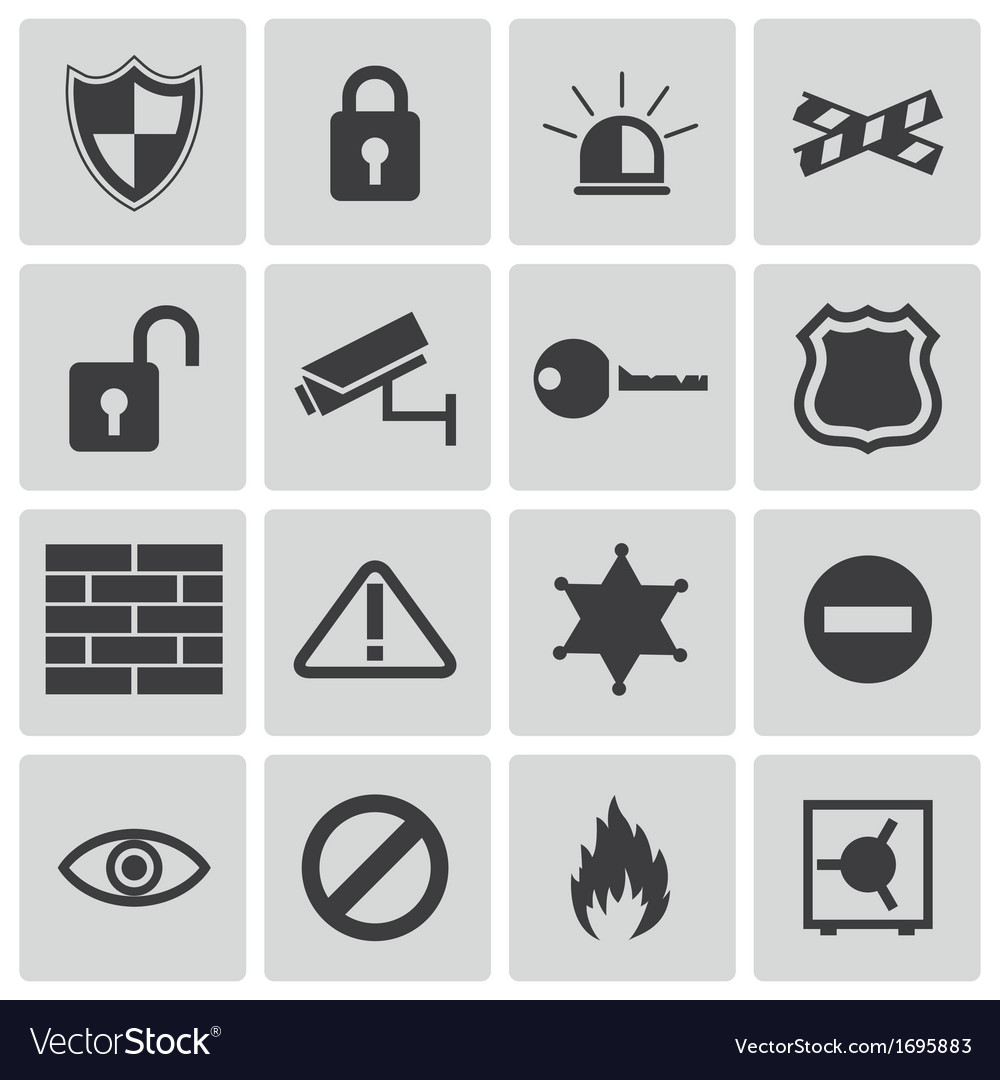 Black security icons set vector | Price: 1 Credit (USD $1)