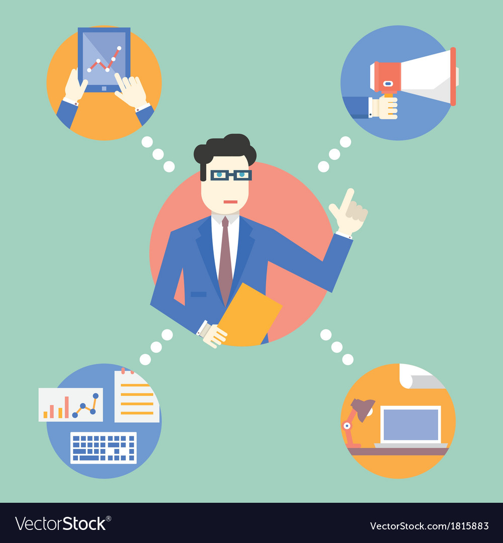 Businessman manage business resources vector | Price: 1 Credit (USD $1)