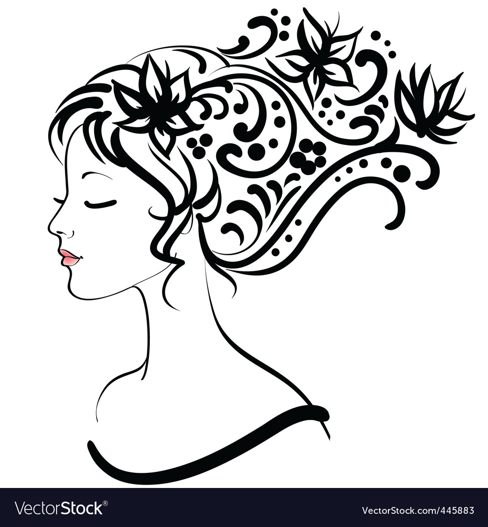 floral girl vector illustration vector | Price: 1 Credit (USD $1)