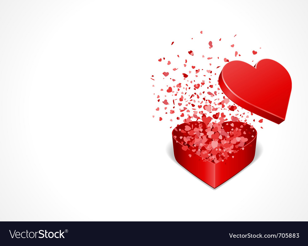 Heart gift present with fly hearts vector | Price: 1 Credit (USD $1)