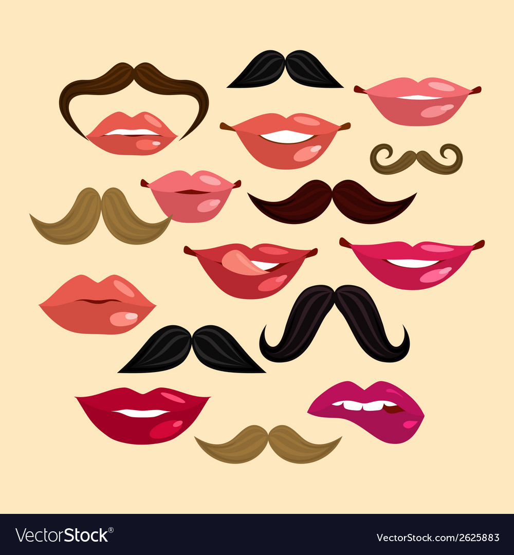 Lips and mustaches vector | Price: 1 Credit (USD $1)