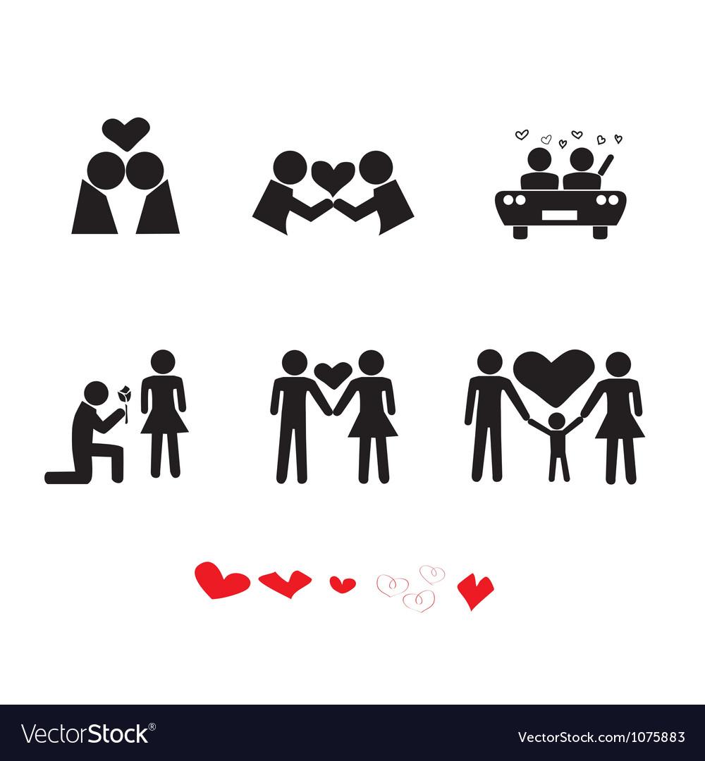 Love people icon set vector | Price: 1 Credit (USD $1)