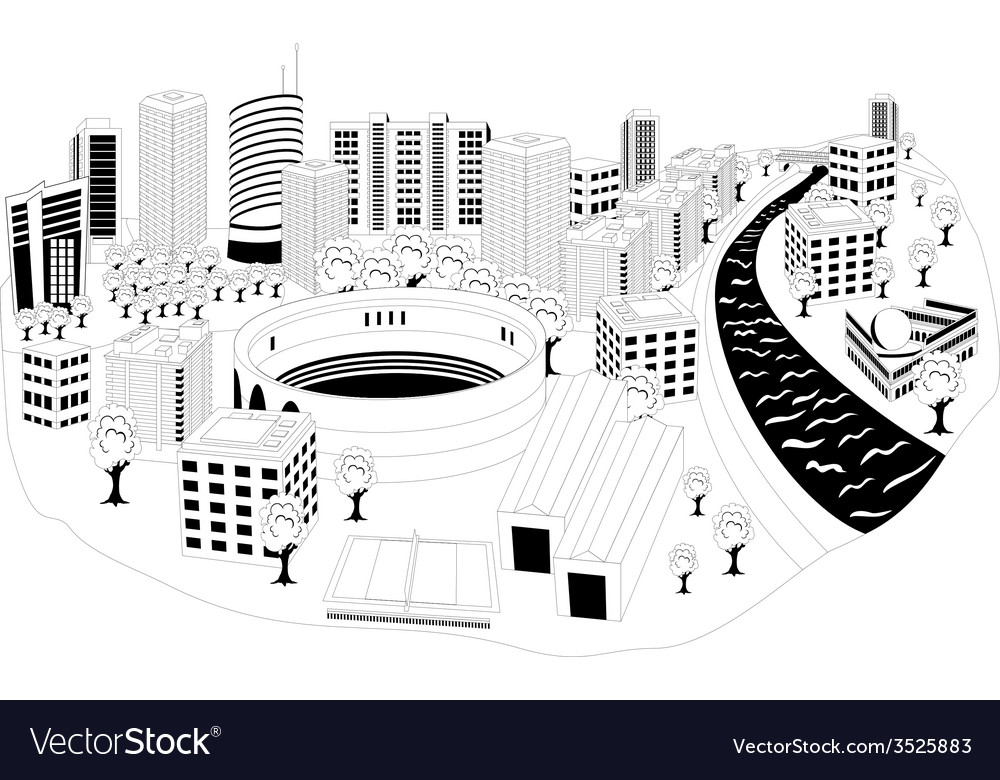 Modern city metropolis vector | Price: 1 Credit (USD $1)