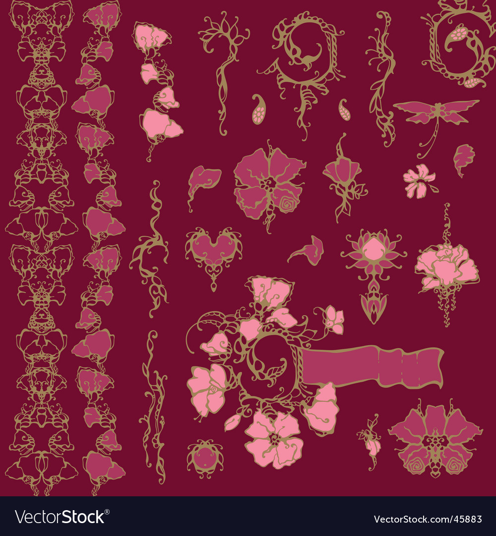 Ornate floral elements vector | Price: 1 Credit (USD $1)