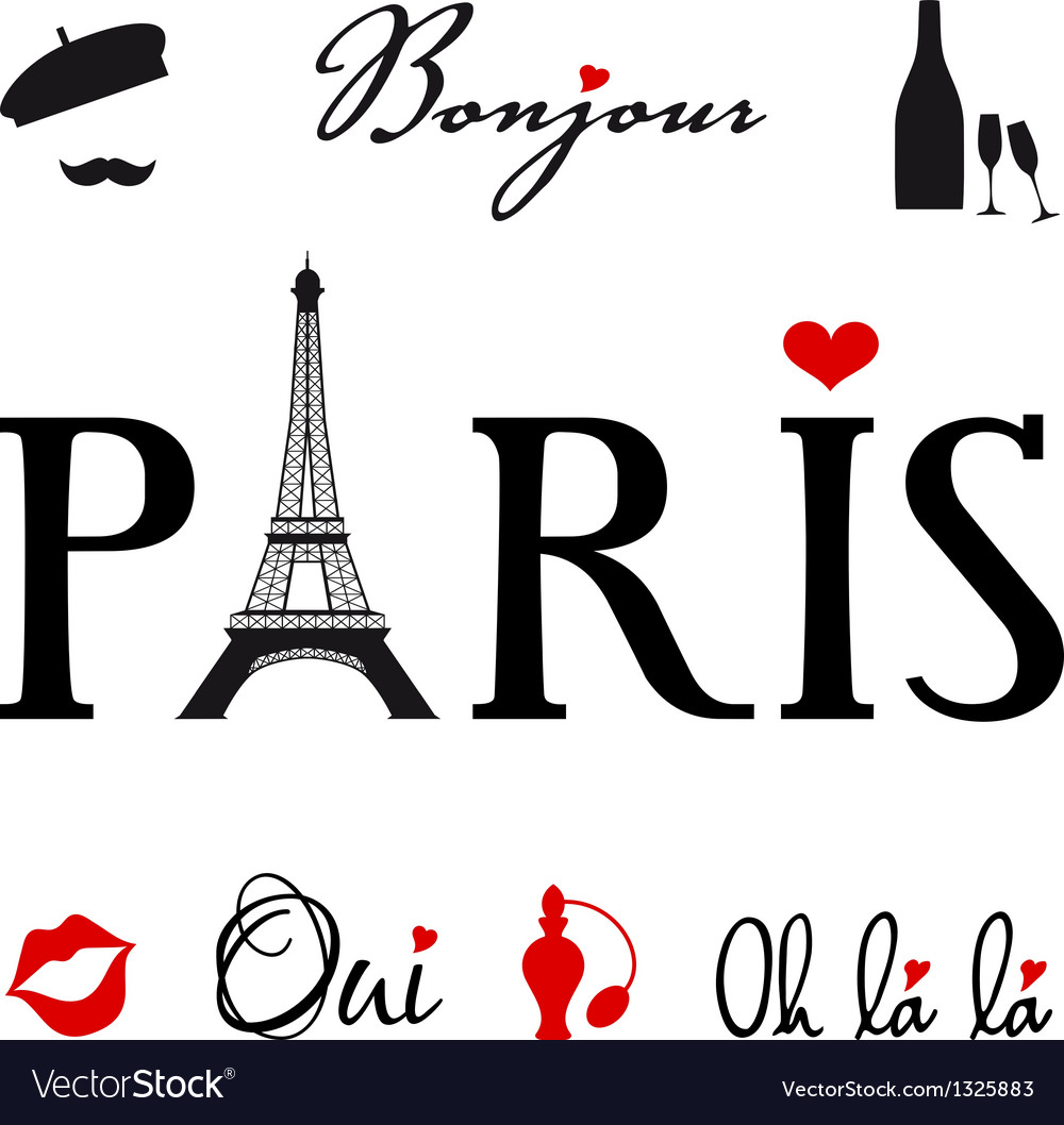 Paris with eiffel tower vector | Price: 1 Credit (USD $1)