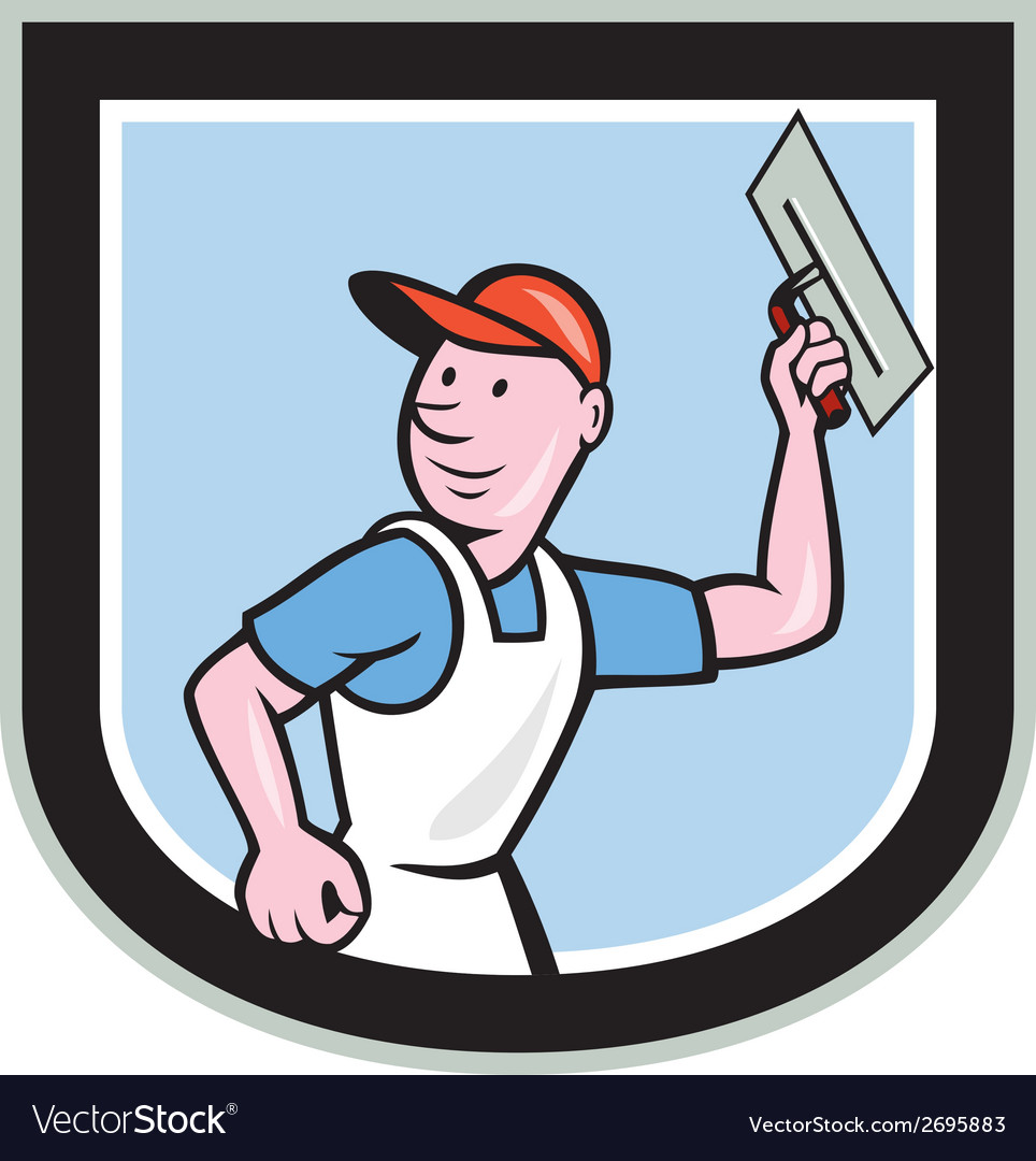 Plasterer masonry worker shield cartoon vector | Price: 1 Credit (USD $1)