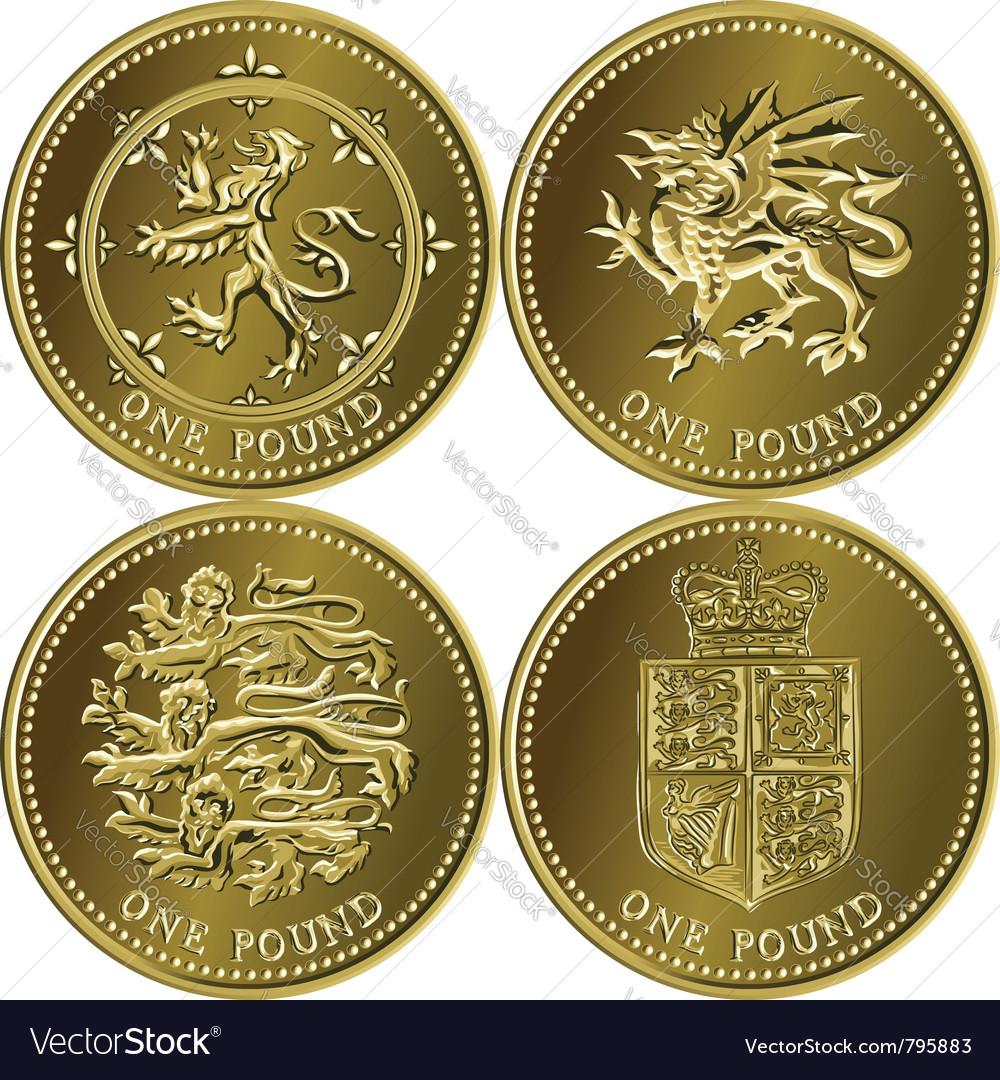 Set british money gold coin vector | Price: 1 Credit (USD $1)