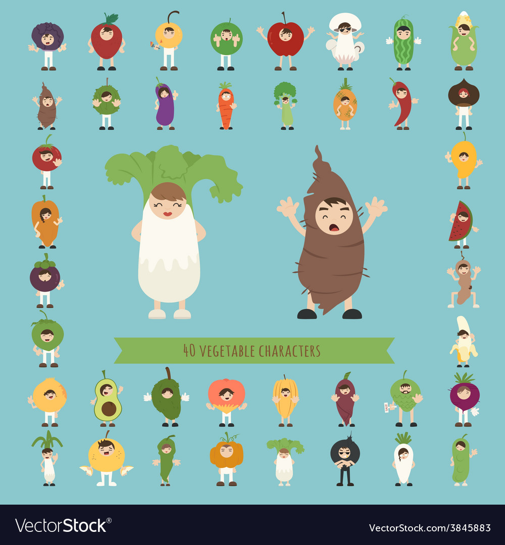 Set of 40 vegetable costume characters vector | Price: 1 Credit (USD $1)