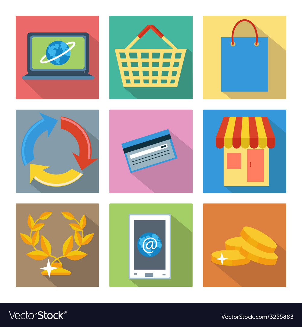 Square icons for internet shopping and banking vector | Price: 1 Credit (USD $1)
