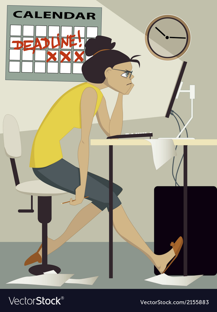 Woman working under deadline vector | Price: 1 Credit (USD $1)