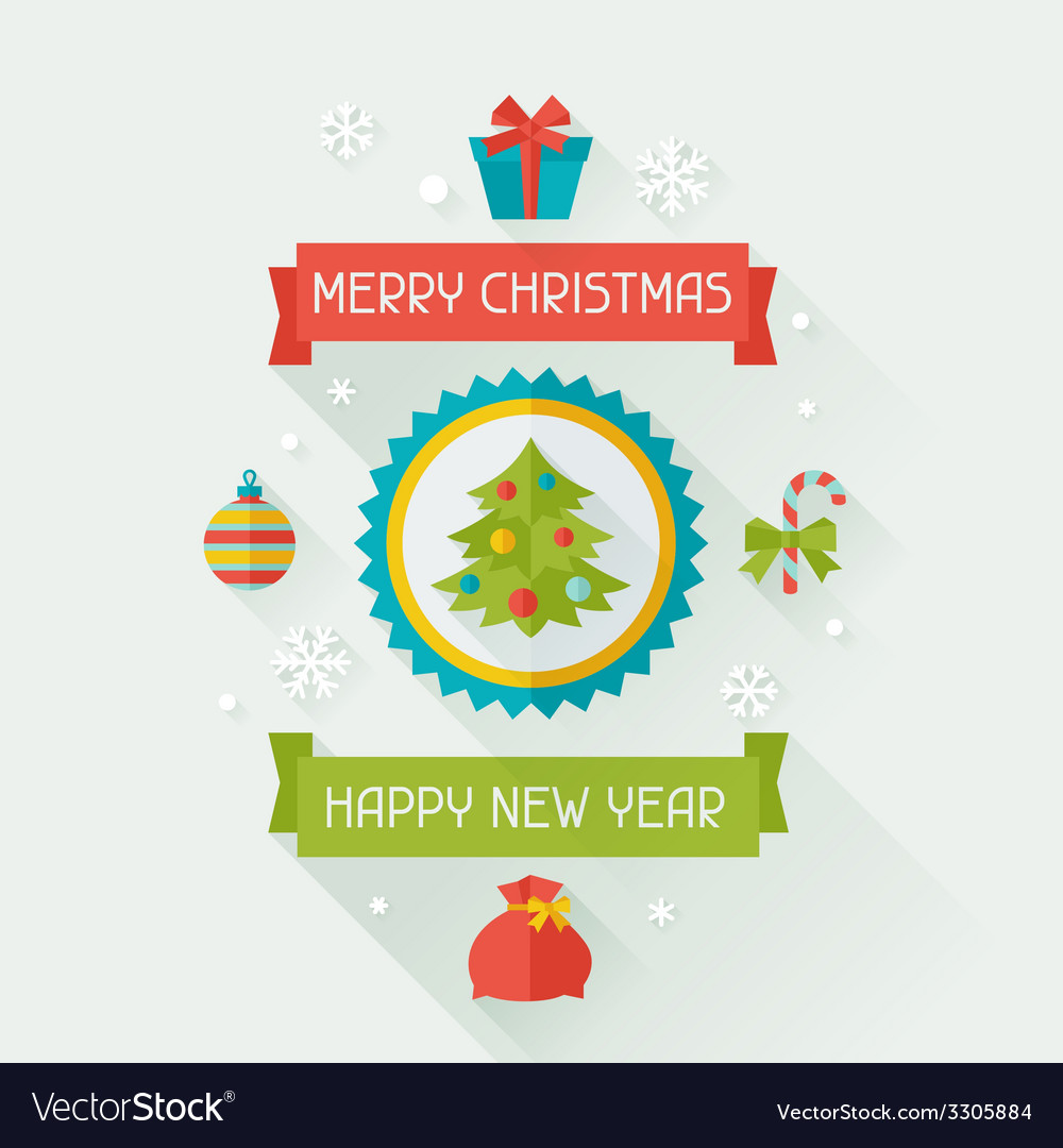 Merry christmas and happy new year invitation card vector | Price: 1 Credit (USD $1)
